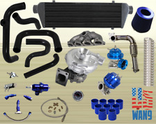 D15B Civic CRX Hatchback DX LX .57 T3 Turbo/Turbocharger Kit Sohc 450HP JDM Blue
