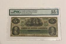1872 South Carolina Columbia $5 PMG 55 NET About Uncirculated (SN 2073/pp B)