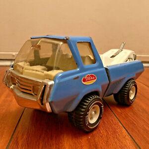 "Tonka Mini 1970s Blue Ford Econoline Wrecker Tow Truck 8"" Long Pressed Steel VTG"