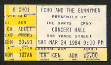 1984 Echo & The Bunnymen Concert Ticket Stub Ontario Canada Lips Like Sugar