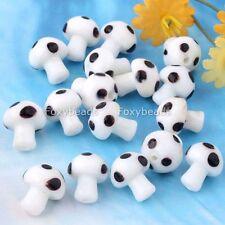 20PCS Lovely Mini WHITE Mushroom Lampwork Glass Loose Beads Jewelry DIY Making