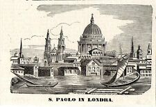 Stampa antica LONDRA Cattedrale St. PAUL London 1870 Old antique print