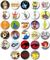 "Kids Retro TV Various 25mm, 1"" Button Badge, S to T, Spongebob, Thundercats"