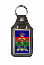 ROYAL PIONEER CORPS CAP BADGE ON A LEATHER STYLE KEY RING. INSERT 2.5 X 4 cm