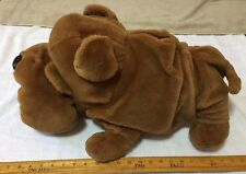 "Bulldog Puppy Dog 22"" Stuffed Plush Soft Animal Brown Rare"