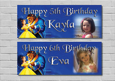 Personalised Birthday Party Banner Decoration Beauty and The Beast decoration