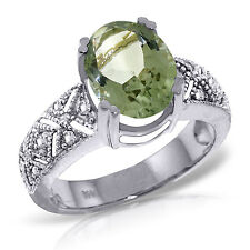 Platinum Plated 925 Sterling Silver Ring w/ Natural Diamonds & Green Amethyst