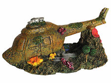 Sunken Helicopter Aquarium Ornament Chopper Wreck Fish Tank Decoration