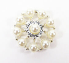 10 PEARL & SILVER METAL ROUND EMBELLISHMENTS APPROX 25MM - WEDDING INVITATIONS