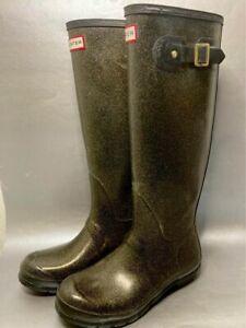Hunter Original Rain Boots Tall Black Gold Glitter 8F/7M W24169 8 Womens Wellies