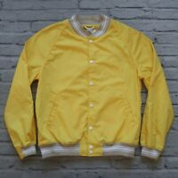New Golden Bear Sport Varsity Jacket Coat Size L Made in USA Yellow Nylon
