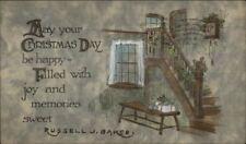 Christmas - Arts & Crafts Home Interior c1910 Gibson Postcard