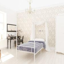 Metal Canopy Bed Frame Twin Size Heavy Duty w/ Headboard Bedroom Furniture Teens