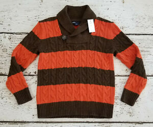 GAP KIDS Boys Brown Orange Striped Fall Cowl Neck Sweater Small 6 7 6-7 NEW NWT