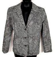 Chicos 3 jacket blazer XL silver embroidery gray black tweed Art to wear jacket