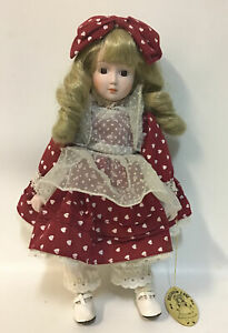 """Hillview Lane 15"""" Porcelain Doll-Marked & Dated 1985 With Tags In Good Condition"""