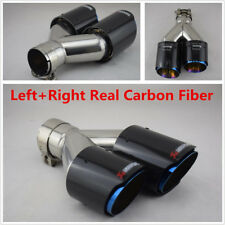 1Pair L+R Universal Real Carbon Fiber Dual Exhaust Pipe Car Tail Muffler End Tip