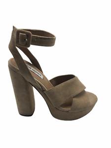 Steve Madden Women's Jodi Open Toe Platform Ankle Strap Heel Blush Suede