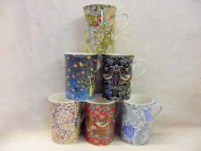 Set of 6 China 10oz Mugs in assorted vintage William Morris designs