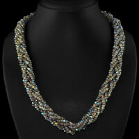 399.60 CTS NATURAL BLUE FLASH LABRADORITE UNTREATED FACETED BEADS NECKLACE (DG)