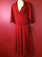 R&K Women's Cherry Red Washable Sweater Dress - Size XL - NWT $60