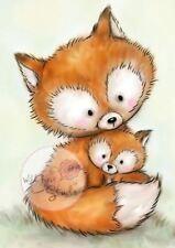 Wild Rose Studio-Clear Timbri-Mummia Fox & Baby - 492-nuovo fuori