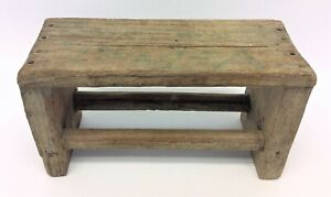 Homemade Unusual Miniature Mini Bench Plant Stand Table Wood Wooden Decorative