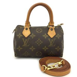 Louis Vuitton Monogram Mini Speedy Hand bag w/Shoulder Strap/70459