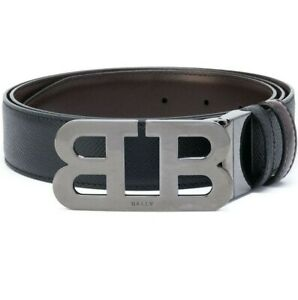 Bally Mens Mirror B Leather Adjustable & Reversible Belt In Black
