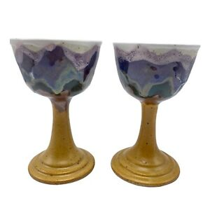 Studio Pottery 2 Goblets Hand Thrown Signed Tan Purple Green Renaissance Wedding