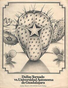 1978 Dallas Tornado v Universidad Autonoma Guadalajara NASL Soccer Program #FWIL