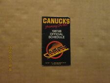 NHL Vancouver Canucks Vintage Circa 1987-88 Logo Hockey Pocket Schedule