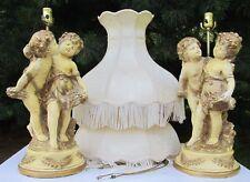 Large Pair Shabby Vintage Romantic Cherub Chalkware Lamps + Damask Fringe Shades