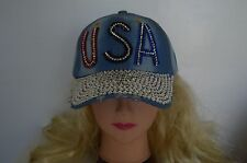 Women Rhinestone Crystal Studded Light Blue Sparkle Baseball Bling Hat Relic Cap