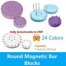 Magnetic Round Dental Lab Bur Block Holder For Fg Amp Ra Fgos 7 Hole Or 28 Hole