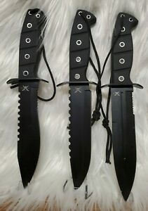 """Frost Cutlery Set of 3 Tac Xtreme Black Handled Bowie 12"""" Overall Knife w/Sheath"""