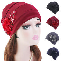 Women Flower Beanie Turban Hat Headwear Muslim Cancer Chemo Cover Head Wrap Cap