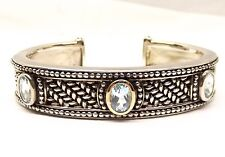 Shey Couture Sterling Silver 14k Gold Hinged Cuff Bracelet Station Blue Topaz