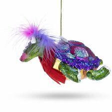 Mrs. Sea Turtle Glass Christmas Ornament