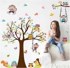 Wandtattoo Kinderzimmer Eule Affe Igel Schmetterling Aufkleber Baum Baby Stick