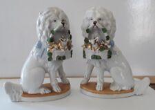 Pair Antique Porcelain Poodles with basket of Piglets.Over Mantle German Figures