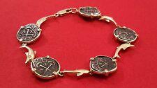 14k Yellow Gold Bahamas Dolphin Silver Shipwreck Coin Bracelet