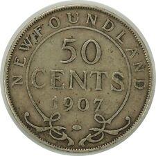 1907  50 CENTS NEWFOUNDLAND (CANADA)  (SILVER)     KM#11   (062020)
