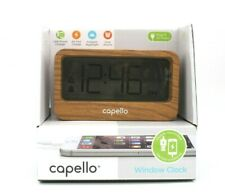Capello Window Digital Alarm Clock with USB 2A Charger Lark Finish CA-30 NEW