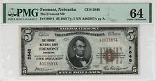 1929 T1 $5 Fremont National Banknote Currency Fremont Nebraska PMG UNC 64