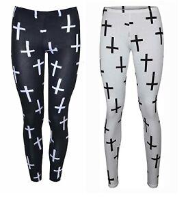 New Ladies Women's  Small Cross Print Jersey Gym Leggings Size S/M M/L
