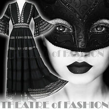 VINTAGE LACE DRESS BLACK BOHO WEDDING 6 8 10 12 14 VICTORIAN VAMP MASQUERADE