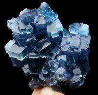 129g Rare Transparent Blue Cube Fluorite Crystal Mineral Specimen/China