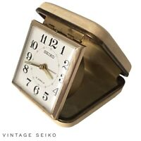 Vintage Seiko Travel Windup Alarm Clock 2 Jewels Foldable Made In Japan