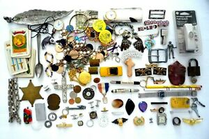 VINTAGE JUNK DRAWER LOT JEWELRY, WATCH, COIN, PINS, BADGE, RING